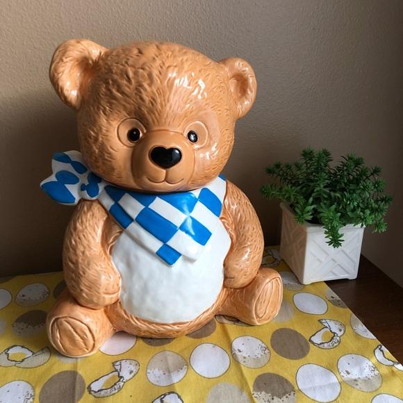 Vintage 90s bandana Teddy Bear cookie jar